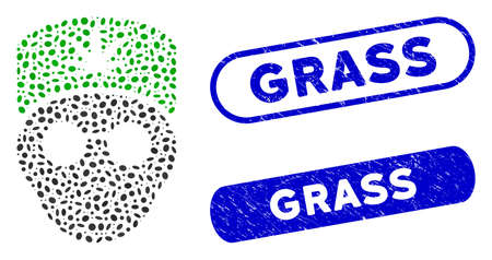 Mosaic cannabis doctor head and distressed stamp seals with Grass caption. Mosaic vector cannabis doctor head is created with randomized ellipse parts. Grass stamp seals use blue color,
