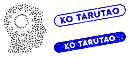 Mosaic intellect gear and corroded stamp watermarks with Ko Tarutao phrase. Mosaic vector intellect gear is created with randomized elliptic spots. Ko Tarutao stamp seals use blue color,