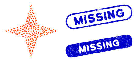 Mosaic space star and distressed stamp seals with Missing phrase. Mosaic vector space star is composed with scattered ellipse elements. Missing stamp seals use blue color,