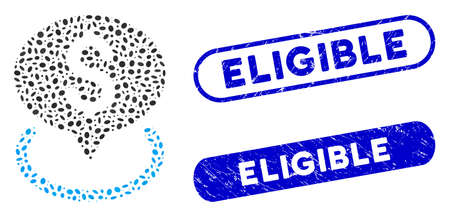 Mosaic bank location and distressed stamp seals with Eligible phrase. Mosaic vector bank location is created with scattered ellipse elements. Eligible stamp seals use blue color, Illustration