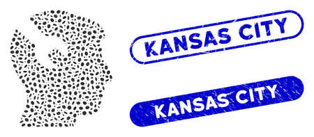 Mosaic head surgery wrench and corroded stamp seals with Kansas City text. Mosaic vector head surgery wrench is formed with randomized ellipse parts. Kansas City stamp seals use blue color, Illustration