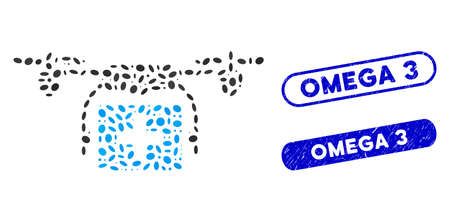 Mosaic ambulance drone and grunge stamp seals with Omega 3 text. Mosaic vector ambulance drone is composed with random oval items. Omega 3 stamp seals use blue color, and have round rectangle shape. Çizim