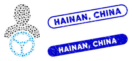 Mosaic driver and grunge stamp seals with Hainan, China text. Mosaic vector driver is formed with randomized ellipse parts. Hainan, China stamp seals use blue color, and have round rectangle shape. Ilustracja