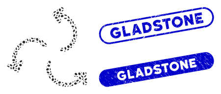 Mosaic cyclone arrows and rubber stamp seals with Gladstone text. Mosaic vector cyclone arrows is created with random elliptic parts. Gladstone stamp seals use blue color, Ilustracja