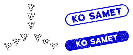 Mosaic inside direction and corroded stamp seals with Ko Samet caption. Mosaic vector inside direction is created with randomized ellipse elements. Ko Samet stamp seals use blue color,