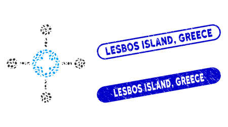 Mosaic medical center and distressed stamp seals with Lesbos Island, Greece text. Mosaic vector medical center is created with randomized elliptic dots. Lesbos Island,