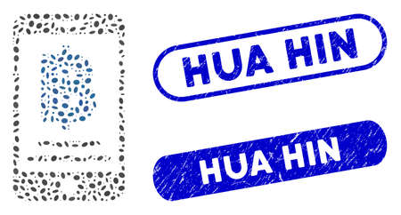Mosaic Bitcoin mobile payment and grunge stamp seals with Hua Hin phrase. Mosaic vector Bitcoin mobile payment is created with random ellipse pieces. Hua Hin stamp seals use blue color,