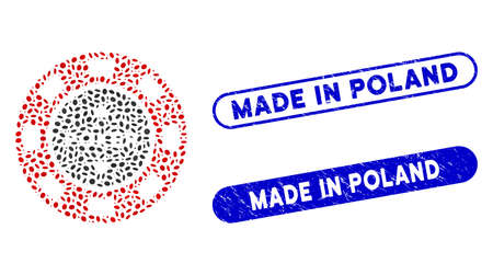 Mosaic poker casino chip and distressed stamp seals with Made in Poland text. Mosaic vector poker casino chip is formed with random elliptic pieces. Made in Poland stamp seals use blue color,