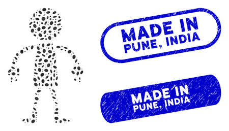 Mosaic robot and distressed stamp seals with Made in Pune, India phrase. Mosaic vector robot is designed with random ellipse parts. Made in Pune, India stamp seals use blue color,