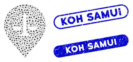 Collage justice weight marker and corroded stamp seals with Koh Samui caption. Mosaic vector justice weight marker is created with scattered oval items. Koh Samui stamp seals use blue color,