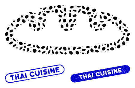 Mosaic bread and rubber stamp seals with Thai Cuisine text. Mosaic vector bread is designed with randomized ellipse pieces. Thai Cuisine stamp seals use blue color, and have round rectangle shape. Vettoriali