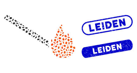 Mosaic match flame and rubber stamp seals with Leiden caption. Mosaic vector match flame is formed with randomized elliptic dots. Leiden stamp seals use blue color, and have round rectangle shape.