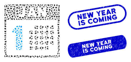 Mosaic January first and rubber stamp seals with New Year Is Coming caption. Mosaic vector January first is created with random ellipse spots. New Year Is Coming stamp seals use blue color,