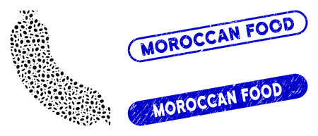 Mosaic sausage and distressed stamp seals with Moroccan Food phrase. Mosaic vector sausage is formed with scattered elliptic elements. Moroccan Food stamp seals use blue color,