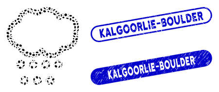 Mosaic hail weather and grunge stamp seals with Kalgoorlie-Boulder text. Mosaic vector hail weather is formed with randomized elliptic spots. Kalgoorlie-Boulder stamp seals use blue color,