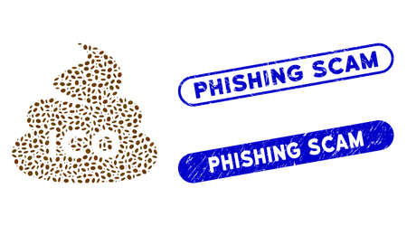Mosaic ICO shit and rubber stamp seals with Phishing Scam phrase. Mosaic vector ICO shit is designed with scattered ellipse spots. Phishing Scam stamp seals use blue color,