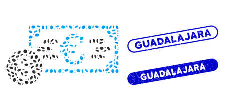 Mosaic Dollar and Euro cash and grunge stamp watermarks with Guadalajara text. Mosaic vector Dollar and Euro cash is designed with random ellipse pieces. Guadalajara stamp seals use blue color,