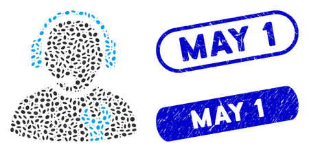 Mosaic service operator and grunge stamp watermarks with May 1 text. Mosaic vector service operator is composed with randomized ellipse dots. May 1 stamps use blue color, Ilustracja