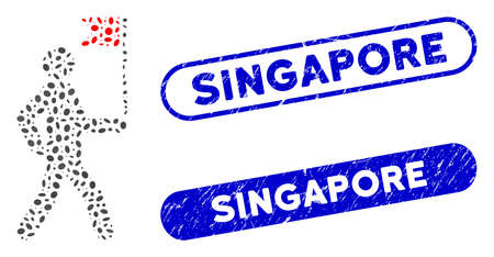Mosaic guide man with flag and distressed stamp seals with Singapore text. Mosaic vector guide man with flag is created with scattered elliptic spots. Singapore stamp seals use blue color,