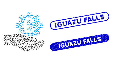 Mosaic Euro gear service hand and rubber stamp seals with Iguazu Falls caption. Mosaic vector Euro gear service hand is composed with random oval dots. Iguazu Falls stamp seals use blue color, Ilustracja