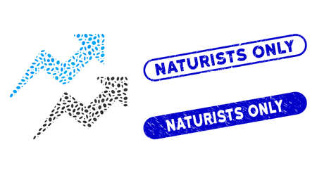 Mosaic trends arrows and grunge stamp watermarks with Naturists Only caption. Mosaic vector trends arrows is created with random oval dots. Naturists Only stamp seals use blue color, Ilustracja