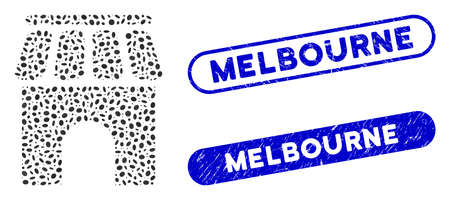 Mosaic shop building and distressed stamp seals with Melbourne text. Mosaic vector shop building is designed with scattered oval dots. Melbourne stamp seals use blue color, Ilustracja