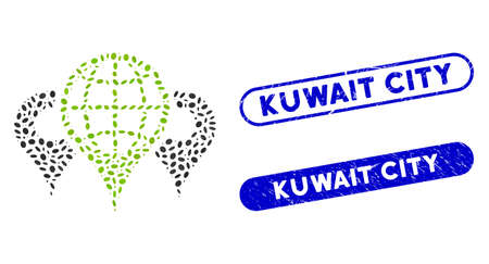 Collage locations and corroded stamp seals with Kuwait City phrase. Mosaic vector locations is created with random oval pieces. Kuwait City stamp seals use blue color, and have round rectangle shape.