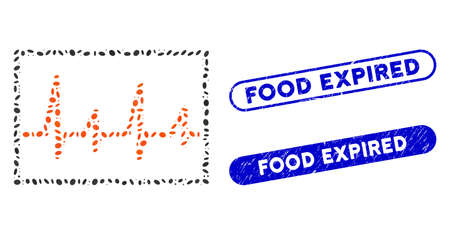 Mosaic cardiogram and grunge stamp seals with Food Expired phrase. Mosaic vector cardiogram is created with scattered oval items. Food Expired stamp seals use blue color,