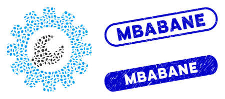 Collage service tools and distressed stamp seals with Mbabane text. Mosaic vector service tools is formed with randomized oval dots. Mbabane stamp seals use blue color, and have round rectangle shape. Ilustracja