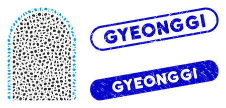 Collage door and corroded stamp seals with Gyeonggi caption. Mosaic vector door is created with scattered oval elements. Gyeonggi stamp seals use blue color, and have round rectangle shape. Ilustracja