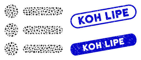 Collage items and corroded stamp seals with Koh Lipe text. Mosaic vector items is designed with random oval elements. Koh Lipe stamp seals use blue color, and have round rectangle shape.