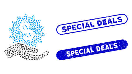 Mosaic financial offer hand and corroded stamp seals with Special Deals phrase. Mosaic vector financial offer hand is designed with randomized oval dots. Special Deals stamp seals use blue color, Ilustracja