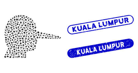 Mosaic liar and grunge stamp seals with Kuala Lumpur caption. Mosaic vector liar is designed with random ellipse spots. Kuala Lumpur stamp seals use blue color, and have round rectangle shape. Stock Vector - 140585900