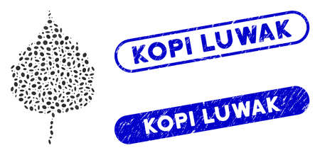 Mosaic birch leaf and corroded stamp seals with Kopi Luwak text. Mosaic vector birch leaf is composed with scattered oval items. Kopi Luwak stamp seals use blue color, and have round rectangle shape.