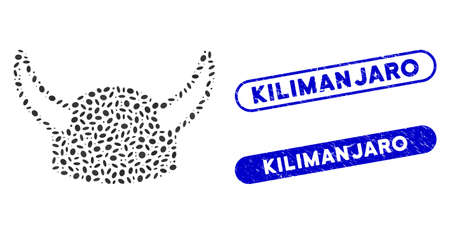 Mosaic horned helmet and grunge stamp seals with Kilimanjaro text. Mosaic vector horned helmet is created with random oval elements. Kilimanjaro seals use blue color, and have round rectangle shape. Ilustracja