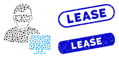 Collage computer hacker and distressed stamp seals with Lease text. Mosaic vector computer hacker is created with scattered elliptic spots. Lease stamp seals use blue color, Illusztráció