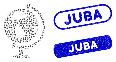 Mosaic globe and corroded stamp seals with Juba text. Mosaic vector globe is composed with random ellipse parts. Juba stamp seals use blue color, and have round rectangle shape. 일러스트