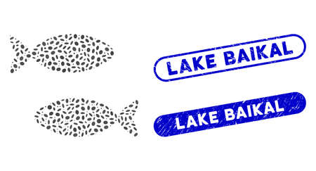 Mosaic fish pair and grunge stamp seals with Lake Baikal phrase. Mosaic vector fish pair is created with random elliptic dots. Lake Baikal stamp seals use blue color, and have round rectangle shape.