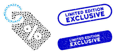 Mosaic discount tag and rubber stamp watermarks with Limited Edition Exclusive phrase. Mosaic vector discount tag is designed with randomized elliptic dots. Illustration