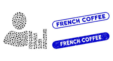 Mosaic client charts and corroded stamp watermarks with French Coffee text. Mosaic vector client charts is designed with random elliptic parts. French Coffee stamp seals use blue color,