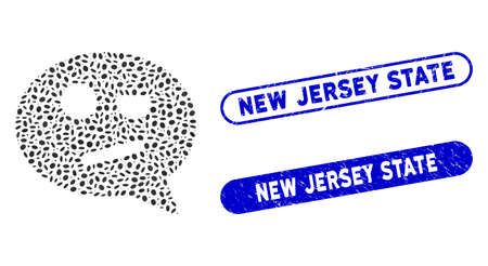 Mosaic negation smiley message and grunge stamp seals with New Jersey State caption. Mosaic vector negation smiley message is designed with scattered ellipse items.