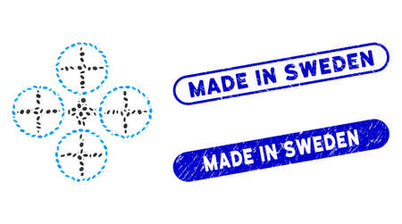 Mosaic quadcopter and distressed stamp seals with Made in Sweden text. Mosaic vector quadcopter is designed with random elliptic elements. Made in Sweden seals use blue color,