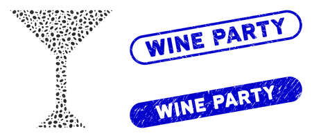Mosaic wine glass and distressed stamp seals with Wine Party caption. Mosaic vector wine glass is formed with scattered ellipse parts. Wine Party stamp seals use blue color,