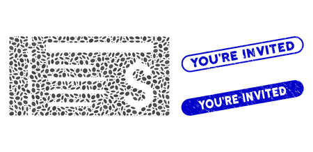 Mosaic ticket and distressed stamp watermarks with You'Re Invited text. Mosaic vector ticket is designed with scattered oval parts. You'Re Invited stamp seals use blue color,