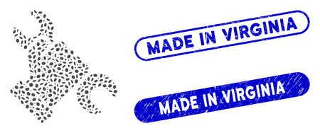 Mosaic repair and grunge stamp seals with Made in Virginia caption. Mosaic vector repair is created with random oval spots. Made in Virginia stamp seals use blue color, and have round rectangle shape.
