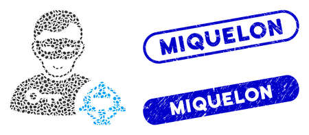 Mosaic social hacker and corroded stamp seals with Miquelon phrase. Mosaic vector social hacker is created with randomized elliptic pieces. Miquelon stamp seals use blue color,