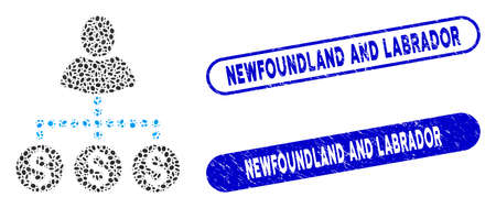 Mosaic user payments and corroded stamp seals with Newfoundland and Labrador text. Mosaic vector user payments is formed with randomized ellipse parts. Ilustração
