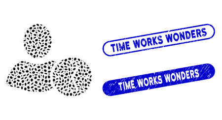 Mosaic time and corroded stamp seals with Time Works Wonders text. Mosaic vector time is composed with scattered elliptic items. Time Works Wonders seals use blue color, Ilustrace