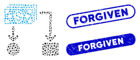 Mosaic cashflow and corroded stamp seals with Forgiven phrase. Mosaic vector cashflow is composed with random elliptic spots. Forgiven stamp seals use blue color, and have round rectangle shape. Illustration