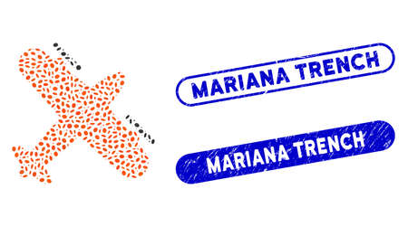 Mosaic screw aeroplane and corroded stamp watermarks with Mariana Trench phrase. Mosaic vector screw aeroplane is formed with scattered ellipse elements. Mariana Trench stamp seals use blue color, Vetores